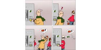 Ablenkung am Geldautomaten