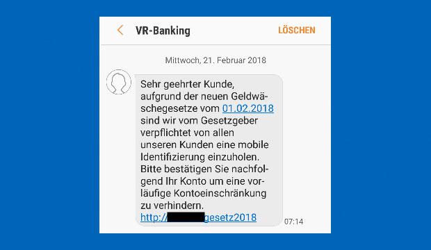 Ansicht der Phishing-SMS